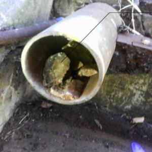 The 150 mm pipe (discharge end) before set up
